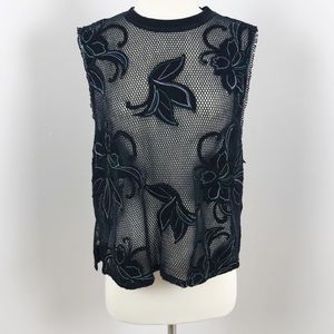 Free People We The Free Black Mesh Floral Tank